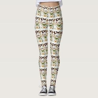 Brown ,Green,yellow  butterflies  Leggings