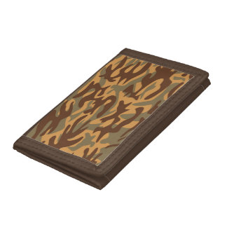 brown green yellow Military Camouflage Tri-fold Wallets