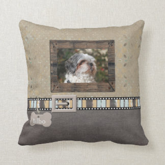 Brown Grey Pet Photo Striped Collar Name template Throw Pillow