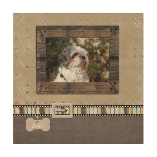 Brown Grey Pet Photo Striped Collar Name template Wood Wall Art