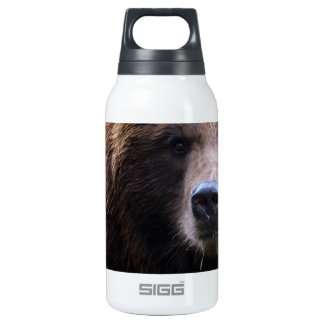 Brown Grizzly Bear Insulated Water Bottle
