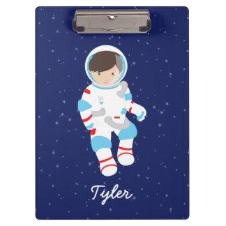 Brown Hair Astronaut in Space Clipboard