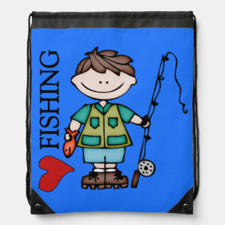 Brown Hair Boy I Love Fishing Drawstring Bag