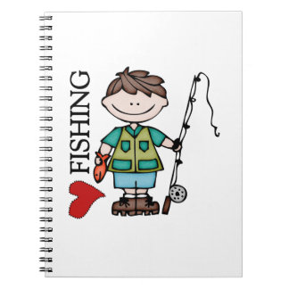 Brown Hair Boy I Love Fishing Spiral Note Book