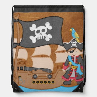 Brown Hair Boy Pirate and Ship Drawstring Bag