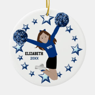 Brown Hair Cheerleader Pom Poms In Blue & Black Ceramic Ornament