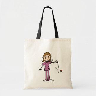 Brown Hair Female Stick Figure Nurse Tote Bag