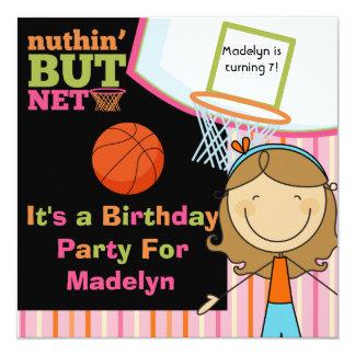 Brown Hair Girl Basketball Birthday Invite