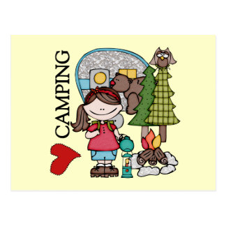 Brown Hair Girl I Love Camping Postcard