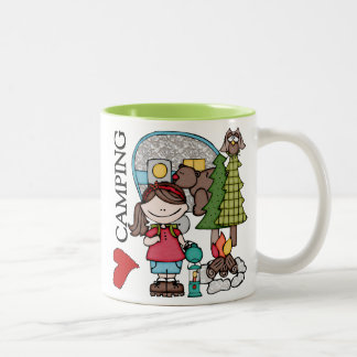 Brown Hair Girl I Love Camping Two-Tone Coffee Mug