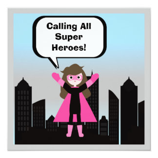 Brown Hair Girl Super Hero Birthday Invitation