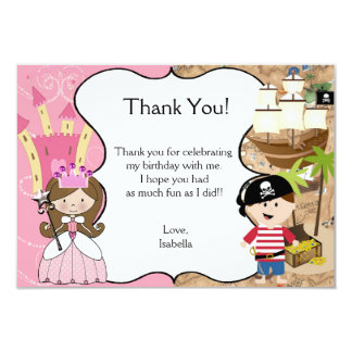 Brown Hair Princess & Pirate Party Thank You Card