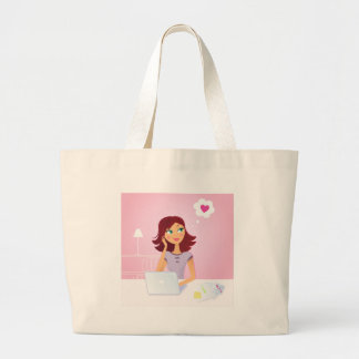 Brown hair Secretary dreaming about Love Large Tote Bag