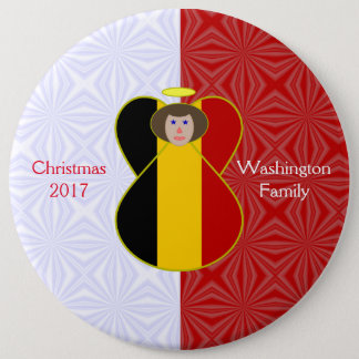 Brown-haired Belgian Flag Angel Red White 6 Inch Round Button