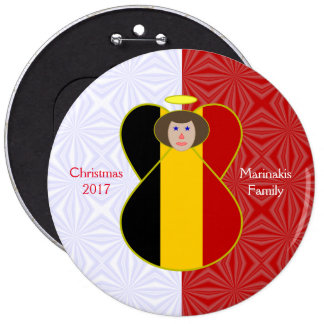 Brown-haired Belgian Flag Angel Red White Squiggly 6 Inch Round Button