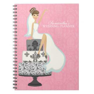 Brown Haired Bride on Wedding Cake pink Spiral Notebook