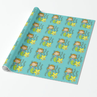 Brown Haired Mermaid Wrapping Paper