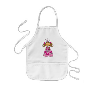 Brown haired princess kids apron