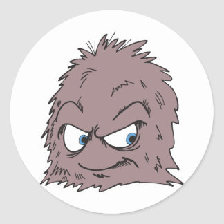 brown hairy furry monster classic round sticker