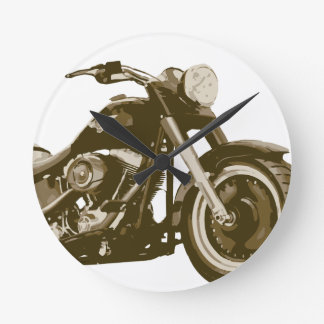 Brown Harley Motorcycle Round Clock