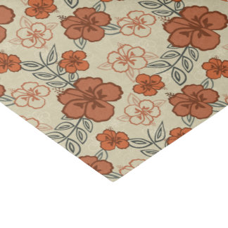 Brown Hawaiian Hibiscus Pattern Tissue Paper