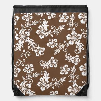 Brown Hawaiian Print Drawstring Backpack