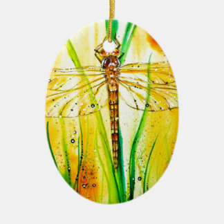 Brown Hawker Dragonfly Ceramic Ornament