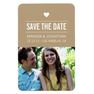 Brown Heart Design Photo Save The Date Magnet