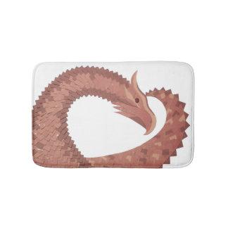 Brown heart dragon on white bath mat