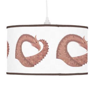 Brown heart dragon on white pendant lamp