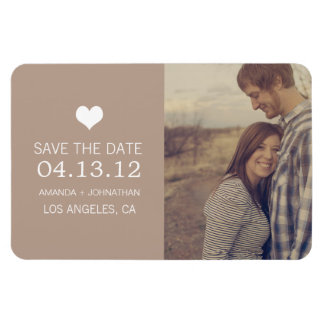 Brown Heart Photo Save The Date Magnet