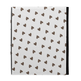 Brown Hearts Pattern iPad Case