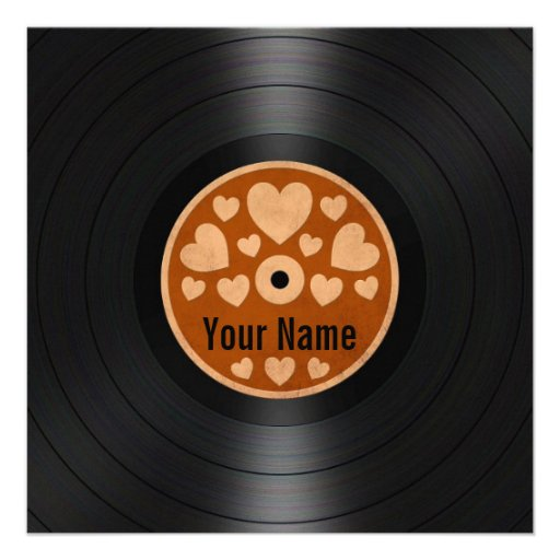 Brown Hearts Personalized Vinyl Record Album Personalized Announcements