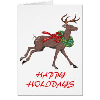 Brown Herringbone Tweed Reindeer with Wreath Card