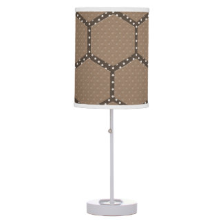 BROWN HEX WITH LINEN SHADE AND WHITE BASE TABLE LAMPS