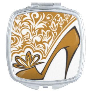 Brown High Heel Floral Pattern Print Design Makeup Mirrors