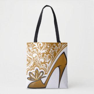Brown High Heel Floral Pattern Print Design Tote Bag