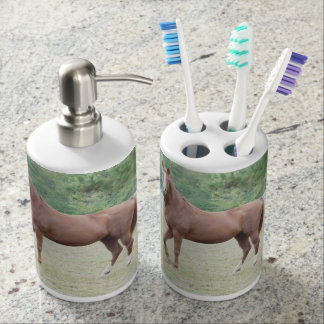 Brown horse bathroom accessories toothbrush holder
