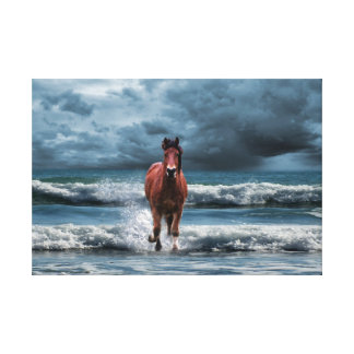Brown Horse Galloping in Ocean Under Storm Clouds Canvas Print