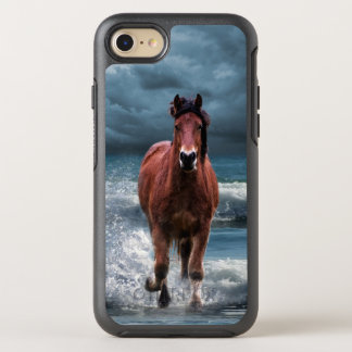 Brown Horse Galloping in Ocean Under Storm Clouds OtterBox Symmetry iPhone 8/7 Case