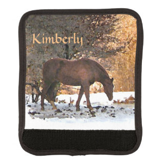 Brown Horse in Winter Luggage Handle Wrap
