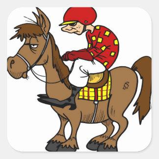 Brown Horse Jockey Square Sticker
