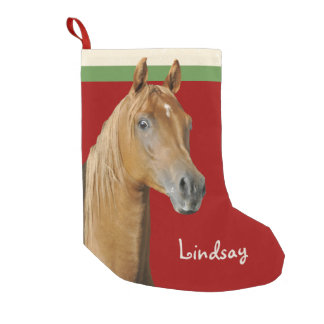 Brown Horse Red Girls Small Christmas Stocking