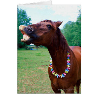 Brown horse wearing necklace, baring teeth, card