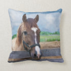 Brown Horse with Bridle Throw Pillow