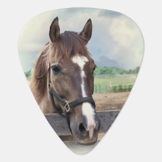 Brown Horse with Halter Guitar Pick