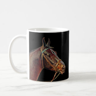 Brown horses coffee, black background coffee mug
