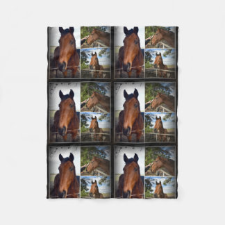 Brown Horses In A Photo Collage. Fleece Blanket