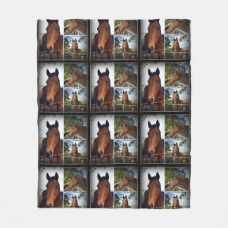 Brown Horses In A Photo Collage,Medium Fleece Blanket