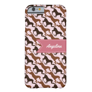 Brown Horses on Pink Patterned Barely There iPhone 6 Case